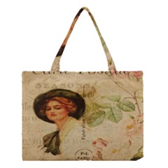Lady On Vintage Postcard Vintage Floral French Postcard With Face Of Glamorous Woman Illustration Medium Tote Bag by Simbadda