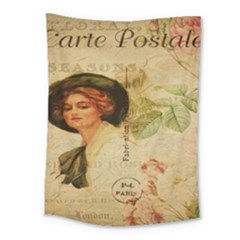 Lady On Vintage Postcard Vintage Floral French Postcard With Face Of Glamorous Woman Illustration Medium Tapestry by Simbadda