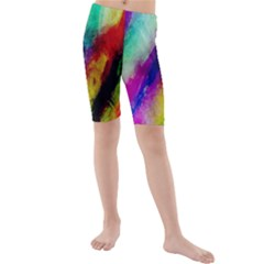 Colorful Abstract Paint Splats Background Kids  Mid Length Swim Shorts