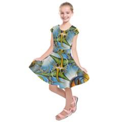 Random Fractal Background Image Kids  Short Sleeve Dress by Simbadda