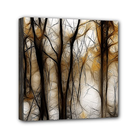 Fall Forest Artistic Background Mini Canvas 6  X 6  by Simbadda