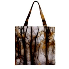 Fall Forest Artistic Background Zipper Grocery Tote Bag by Simbadda