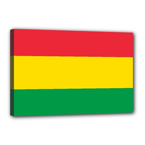 Rasta Colors Red Yellow Gld Green Stripes Pattern Ethiopia Canvas 18  X 12  by yoursparklingshop
