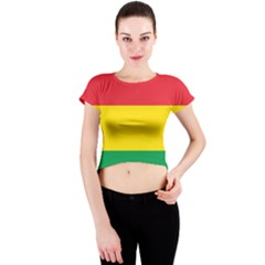 Rasta Colors Red Yellow Gld Green Stripes Pattern Ethiopia Crew Neck Crop Top by yoursparklingshop