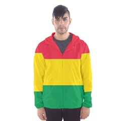 Rasta Colors Red Yellow Gld Green Stripes Pattern Ethiopia Hooded Wind Breaker (men) by yoursparklingshop