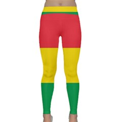 Rasta Colors Red Yellow Gld Green Stripes Pattern Ethiopia Classic Yoga Leggings by yoursparklingshop