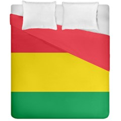 Rasta Colors Red Yellow Gld Green Stripes Pattern Ethiopia Duvet Cover Double Side (california King Size) by yoursparklingshop