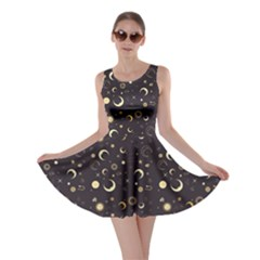 Black A Fun Night Sky The Moon And Stars Skater Dress