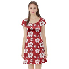 Red Pattern with Hibiscus Flowers on Red  Short Sleeve Skater Dress by CoolDesigns