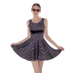Blue Pattern Star Heart In Night Sky Skater Dress by CoolDesigns