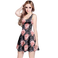 Black Vintage Roses Pattern Sleeveless Skater Dress