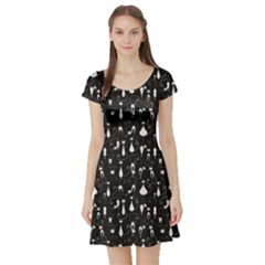 Black White Cats On Black Pattern For Your Design Short Sleeve Skater Dress by CoolDesigns