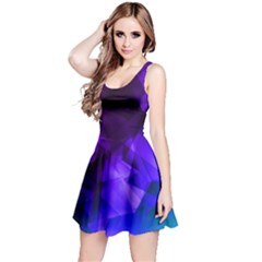 Purple & Dark Iridescent Pattern Sleeveless Skater Dress