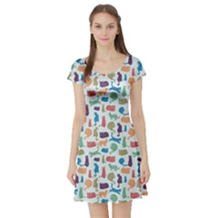 Blue Colorful Cats Silhouettes Pattern Short Sleeve Skater Dress by CoolDesigns