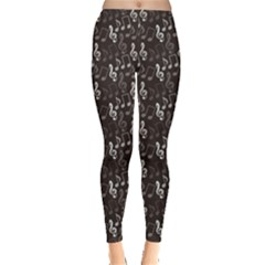 Black Pattern With Music Notes Treble Clef Women s Leggings by CoolDesigns