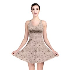 Brown Retro Pattern With Birds And Cage Reversible Skater Dress