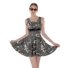 Black Chalkboard Halloween Pattern Skater Dress by CoolDesigns
