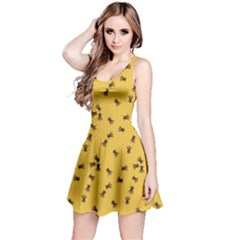 Yellow Pattern Of The Bee On Honeycombs Sleeveless Skater Dress by CoolDesigns
