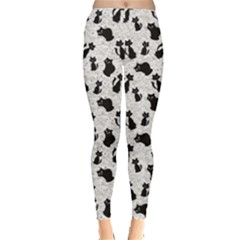 Gray Cartoon Cats Black Silhouettes with White Women s Leggings by CoolDesigns
