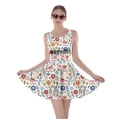 Yellow Floral Flowers Plants Pattern Skater Dress by CoolDesigns