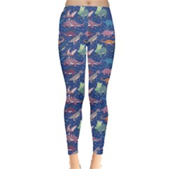 Blue Dinosaur Stylish Pattern Leggings by CoolDesigns