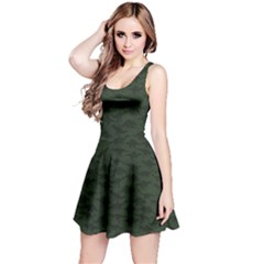 Dark Green A Pattern With Dinosaur Silhouettes Sleeveless Dress