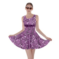 Purple Tree Pattern Japanese Cherry Blossom Skater Dress