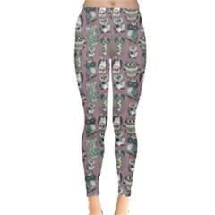 Gray Owl Pattern Women s Leggings