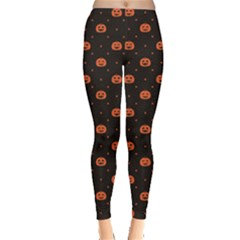 Black Black D Polka Dots Pattern With Halloween Pumpkin Women s Leggings