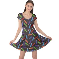 Colorful Pattern Of Colored Pencils Scattered Cap Sleeve Dress