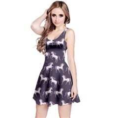 Cowcow Womens Navy Blue Unicorn Seamless Sleeveless Skater Dress by CoolDesigns