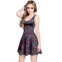 Blue Pattern Colorful Circus Magician Elephant Dancer Short Sleeve Skater Dress