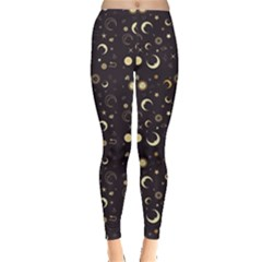 Black A Fun Night Sky the Moon and Stars Women s Leggings by CoolDesigns