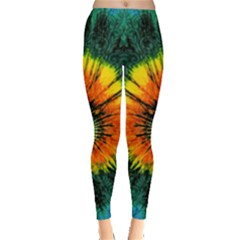 Green Tie Dye Aztec Tribal Leggings  by CoolDesigns