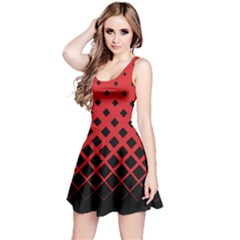 Red & Black Gradient With Black Rhombuses Sleeveless Skater Dress