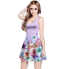 Purple2 Floral Sleeveless Skater Dress  by CoolDesigns