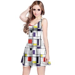 Colorful Pattern Retro Geometric Pattern Reversible Sleeveless Dress by CoolDesigns
