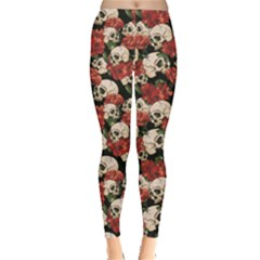 Brown Skull And Flowers Day Of The Dead Vintage Women s Leggings by CoolDesigns