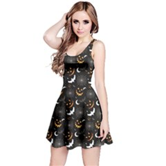 Black Halloween Horror Symbols Pattern Available Sleeveless Dress
