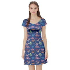 Blue Dinosaur Stylish Pattern Short Sleeve Skater Dress