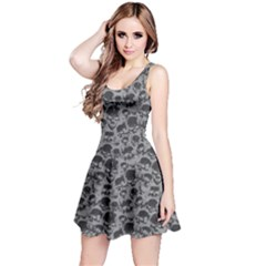 Grey Grunge Pattern With Skulls Illustration Sleeveless Skater Dress