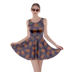 Purple Pattern Of Pineapple Skater Dress