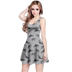Light Gray Sharks Pattern Reversible Sleeveless Dress by CoolDesigns