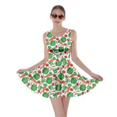 Green Vegetable Pattern Skater Dress