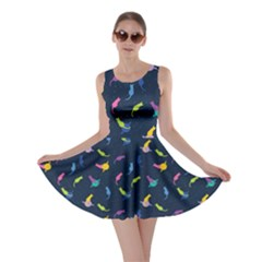 Navy Space With Cats Saturn And Stars Skater Dress  by CoolDesigns