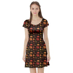 Dark Pattern With African Animals Short Sleeve Skater Dress by CoolDesigns