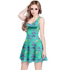 Aqua Dinosaur Stylish Pattern Skater Dress