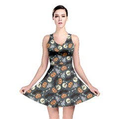Colorful Halloween Pattern With Pumkins Bats And Skulls Reversible Skater Dress by CoolDesigns