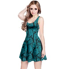 Turquoise Ravens Pattern Reversible Sleeveless Dress by CoolDesigns