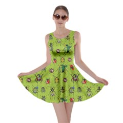 Neon Green Pattern With Watercolor Beetles Skater Dress  by CoolDesigns